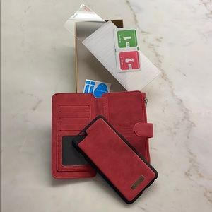 iPhone 7plus wallet phone case. Red suede
